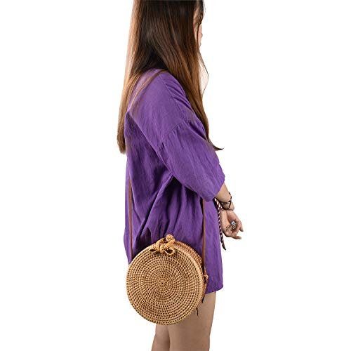 Round Rattan Bag, Handmade Bali Ata Straw Woven Circle Crossbody Handag for Women with Shoulder Leather Strap(Round)