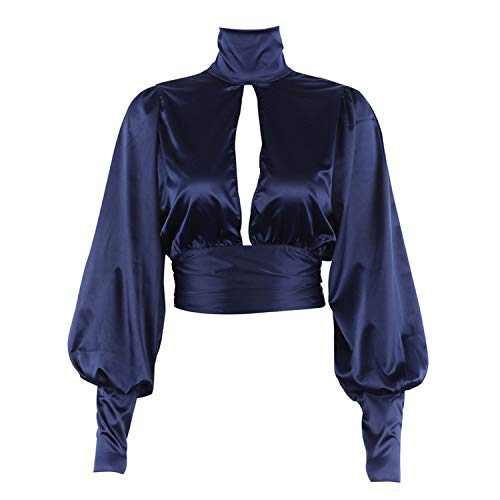 Women Sexy Lace Up Bow Satin Blouse Turtleneck Shirt Backless Blouses Women Puff Sleeve Crop Top Spring,Navy - Turtleneck Satin