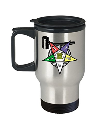 - Masonic travel mug - Order of the Eastern Star Past Matron gavel symbol - Freemasonry OES O.E.S. PHA gift accessories perfect for coffee/tea - stainless steel - Sold only by Saroth design