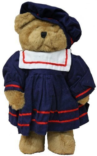 Navy Teddy Bear (Plush Bear 12 Inches Stuffed Animal with Blue Sailor Outfit Dress with Red and White Trimmings with Hat, Plush Bear Sailor Girl.)