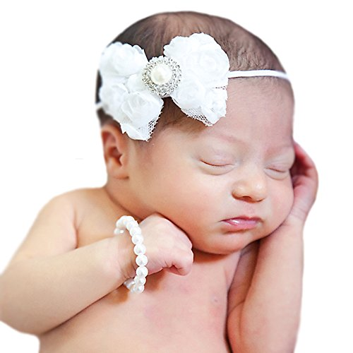 Price comparison product image Melondipity's White Mini Rose Bow Headband with Pearl Bracelet SET for Newborn Girls