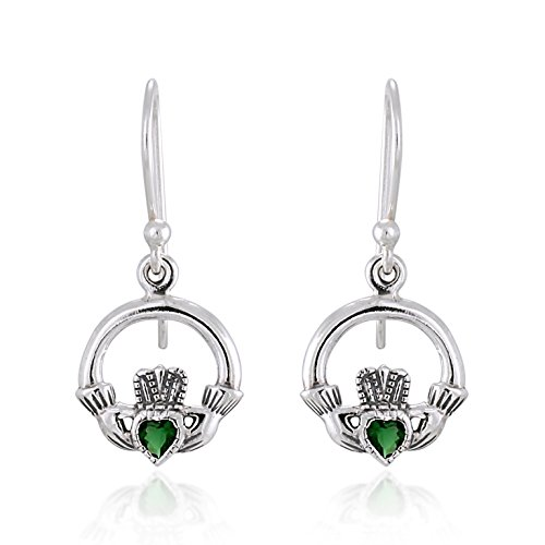 - 925 Sterling Silver Celtic Claddagh with Green Cubic Zirconia Dangle Earrings