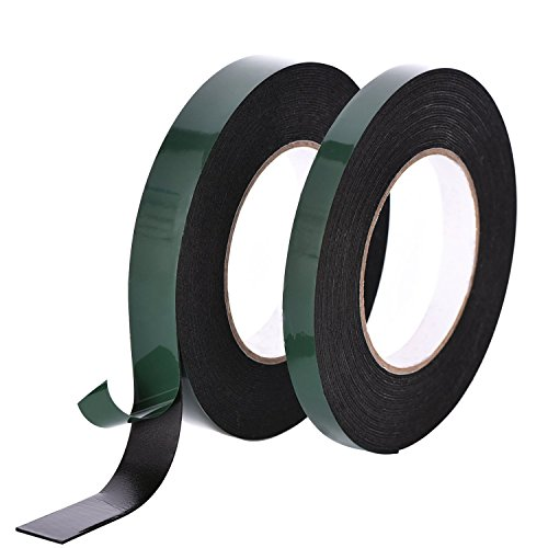 Kesoto Black Foam Tape Double Sided Sponge Tape Waterproof Mounting Adhesive Tape Roll for Automotive Car Door Phone Machine, Pack of 2 (Car Tape Duct)