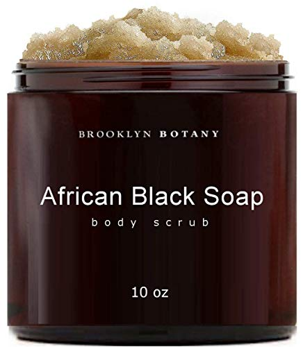 Brooklyn Botany African Black Soap Body Scrub Face Scrub 10 oz - Shea Butter & Coconut Oil - Eczema Soap Acne Treatment - Exfoliate & Moisturize, Facial Scrub, Back Acne, Relieve Dry & Irritated Skin