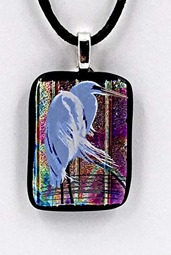 (Blue Heron Fused Glass Pendant With Matching Stud Earrings)