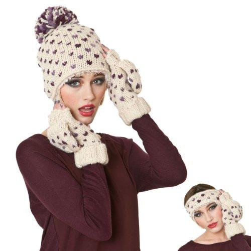 Socks Uwear ® femme tricoté à la main Motif coeurs Fashion Ensemble d'hiver 3 pièces bonnet + Moufles Bandeau & Gants