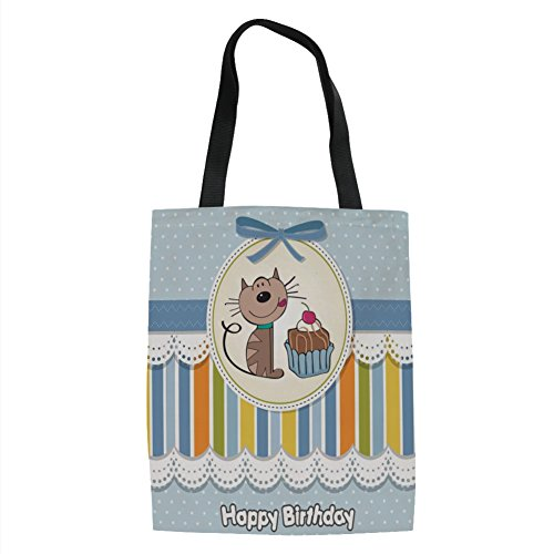 IPrint Birthday Decorations for Kids,Present Wrap Like Image Chocolate Cake Cat Party,Baby Blue and White Printed Women Shoulder Linen Tote Shopping Bag