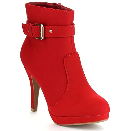 Top Moda George-15 Women's Strap Buckle Stiletto Heel Ankle Booties Red 8.5 (Red Women Boots)