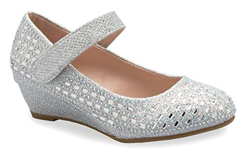 OLIVIA K Girl's Low Wedge Heel Ankle Strap Sparkly Rhinestone Shoes (Toddler/Little Girl) Silver ()