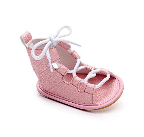 MuSheng Krabbelschuhe Babyschuhe Weiche Sohle Kleinkind Hausschuhe Sandalen für Mädchen Rosa