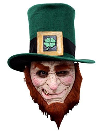 Irish Goblin Leprechaun Latex Mask Evil Red Hair Hat Halloween Costume Accessory ()