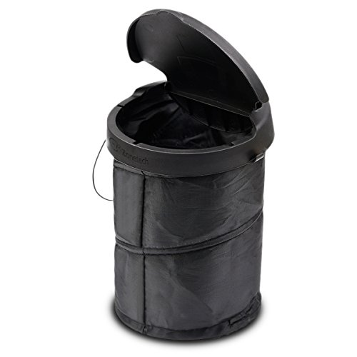 Driver Car Seat Costume (Zone Tech Universal Traveling Portable Car Trash Can - Black Collapsible Pop-up Leak Proof Trash Can)
