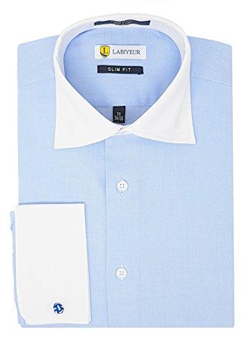 French Cuff Oxford Oxford Shirt - Labiyeur Slim Fit Spread Collar French Cuff Men's Cotton Dress Shirt 15.5 | 34-35 Light Blue Oxford