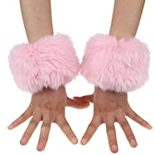 ECOSCO One Pair Faux Fur Hair Soft Wrist Band Ring Cuff COZY FUZZY Warm Warmer Autumn Winter Cold Weather