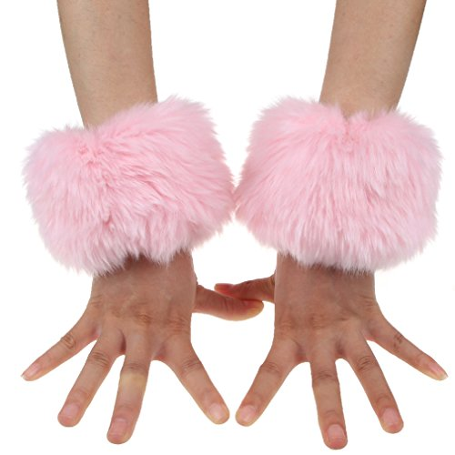 ECOSCO One Pair Faux Rabbit Fur Hair Soft Wrist Band Ring Cuff COZY FUZZY Warm Warmer Autumn Winter Cold Weather (Pink)