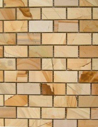 1x2 BRICK TEAKWOOD MARBLE Polished Mosaic Tile Meshed on 12x12 sheets