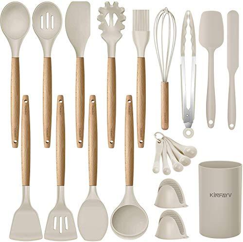 Kinfayv Silicone Cooking Utensils Kitchen Utensil Set, 21 PCS Wooden Handle Nontoxic BPA Free Silicone Spoon Spatula…