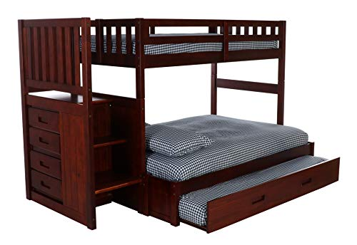 Discovery World Furniture Mission Twin Over Full Staircase Bed with Twin Trundle, Merlot