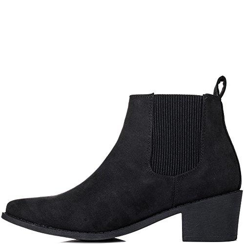 Boots Block Ankle FIND Heel Women's Suede Spylovebuy Joy Chelsea Style Black Y01wqx7t