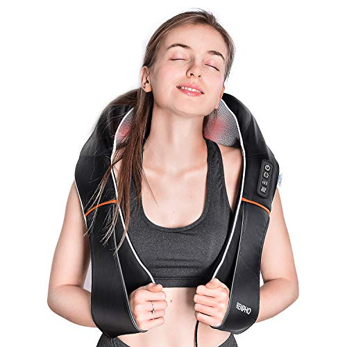 RENPHO Electric Shiatsu Neck and Back Massager with Heat, Deep Tissue 3D Kneading Massage Pillow for Pain Relief on Shoulder Leg Calf Foot Full Body Muscles - Corded Vibration