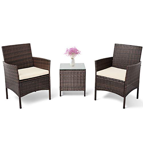Patiomore 3 Pieces Outdoor Bistro Set Cushioned