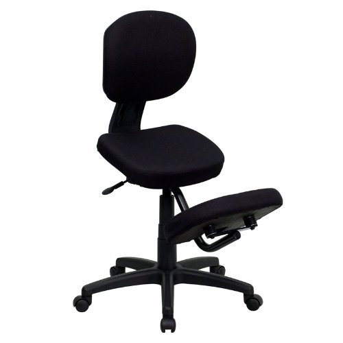 Flash Furniture Mobile Ergonomic Kneeling Posture Task Office Chair with Back in Black Fabric by Flash Furniture