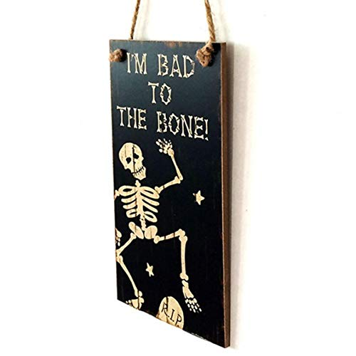 DOSOMI Wooden Plaque Halloween Decoration Wall Hanging Board Crafts 20.3x11cm