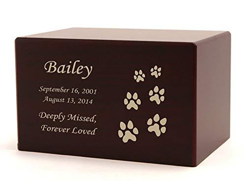 (Near & Dear Pet Memorials MDF Box Pet Urn, 40 Cubic Inch, Cherry - with Engraving)