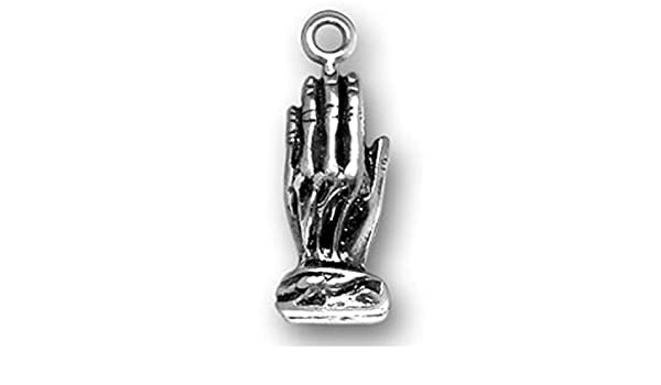 Sterling Silver 3D Detailed Two Hands Joined In Prayer Praying Hands Dangle Charm Bead For Bead Bracelet