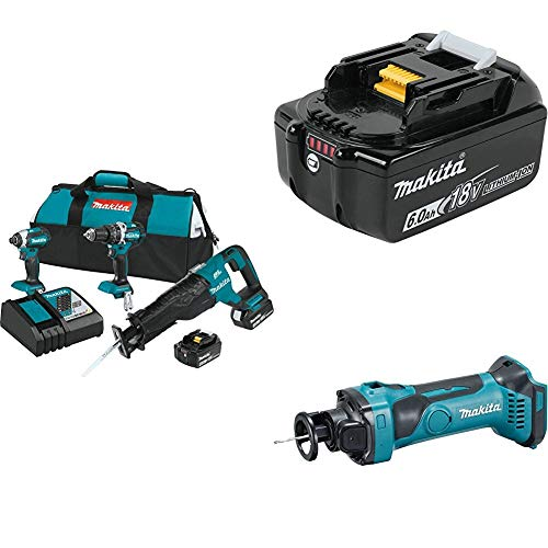 Makita XT328M 4.0 Ah 18V LXT Lithium-Ion Brushless Cordless Combo Kit, 3 Piece  w/ Makita BL1860B 18V 6.0 Ah Battery & Makita XOC01Z 18-Volt LXT Lithium-Ion Cordless Cut-Out, Bare Tool