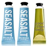 Bath and Body Works 3 Pack Hand Cream. 2 Sea Salt & 1 Good Vibes Vanilla Coconut 1 Oz.