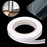 #7: OIYEEFO Weather Stripping with 5 Layers, Self-adhesive Gap Draft Stopper for Framless Glass Doors and Windows Soundproof Seal (16Ft, Transparent)