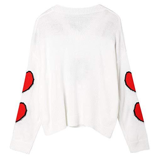 1 ZAFUL V Maglione Scollo Pullover Inverno e Donna Caldo a Bianco Autunno con wq7wxZBSr