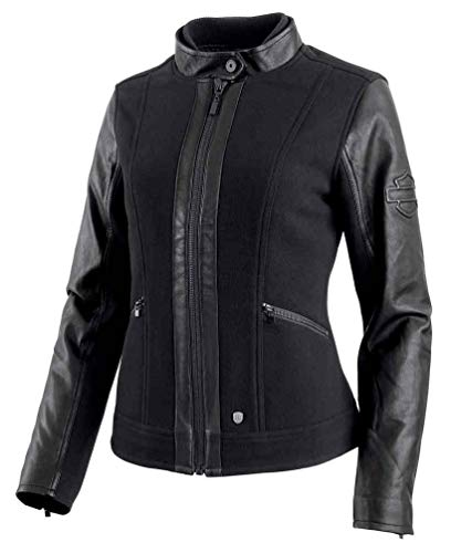 Accent Wool Blend - Harley-Davidson Women's Wool Blend Leather Accent Casual Jacket 97483-19VW (XL) Black