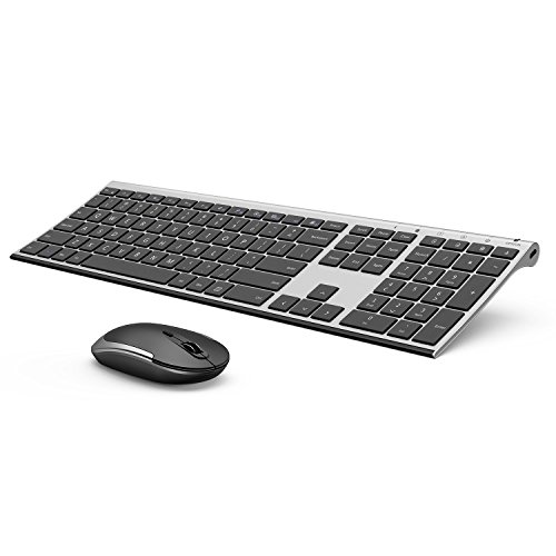 Wireless Ultra Slim Multimedia - Wireless Keyboard and Mouse, Vive Comb 2.4GHz Rechargeable Compact Whisper-Quiet Full-Size Keyboard and Mouse Combo with Nano USB Receiver for Windows, Laptop, PC, Notebook-Dark Gray