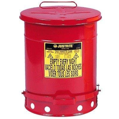 Steel Justrite Oily Waste Safety Can, Red - 6 Gal -