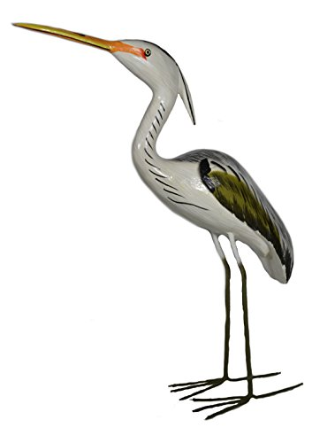 WorldBazzar Hand Carved Painted Wood Carving Heron Bird Decoy Vintage Style ()