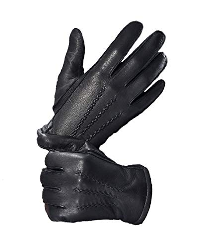 YISEVEN Men's Cashmere Lined Deerskin Leather Gloves Handsewn with Classical Three Points and Long Cuff for Winter Hand Warm Fur Heated Dress Driving Motorcycle Luxury Gifts, Black 9.0