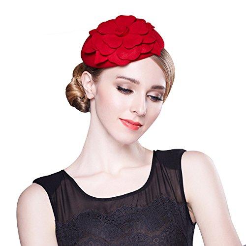 Flower Womens Dress Fascinator Wool Pillbox Hat Party Wedding A083 (Red) ()