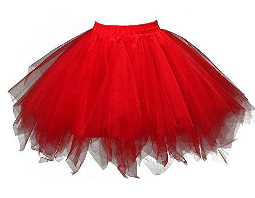 Irish Dancing Costumes Designs (MsJune Women's 1950s Vintage Petticoats Crinolines Bubble Tutu Dance Half Slip Skirt Red-S/M)
