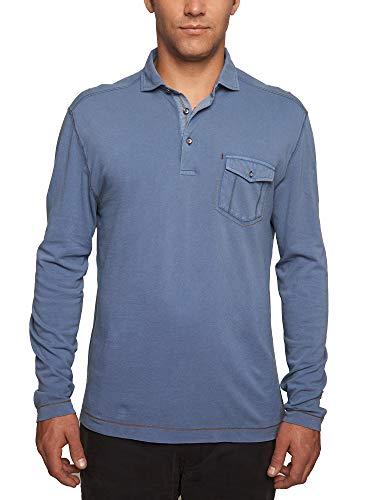 Denim Long Sleeve Polo Shirt - TADD Men's Eddie Long Sleeve Pique Polo with Pocket, Denim, XL