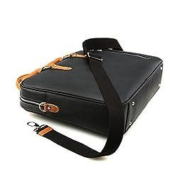 Lotuff Men\'s Genuine Leather Formal Briefcase 14 Inch Laptop Bag One Size Black