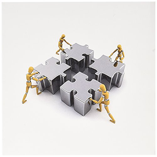 3dRose Greeting Cards, 6 x 6 Inches, Pack of 12, Wooden Mannequins Pushing Puzzle Pieces (gc_155102_2) (Puzzle Teamwork Piece)