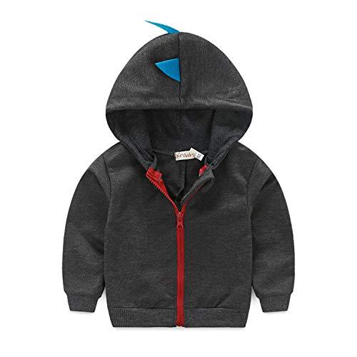 Dealone Baby Boys Long Sleeve Dinosaur Jacket Clothes Toddler Zip-up Hoodies Sweatshirt Dark Gray (Dinosaur Hoodie With Spikes)