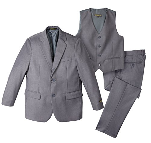 (Spring Notion Big Boys' Two-Button Suit Set 12 3-Piece Grey)