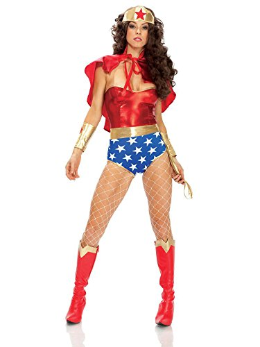 Forplay Women's Super Seductress Costume Set, Red, (Original Wonder Woman Halloween Costume)