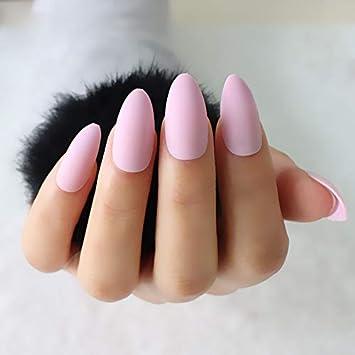 Amazon.com 24Pcs/Set Almond Shape Fake Nails Light Pink