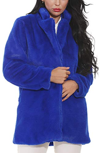 (Women Faux Fur Coat Jackets Outerwear Long Sleeve with Pockets Winter Soft Thick Blue)