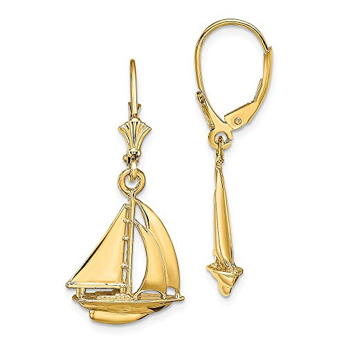 14k Yellow Gold Sailboat Leverback Earrings Lever Back Outdoor Nature Travel Fine Jewelry Gifts For Women For Her ()