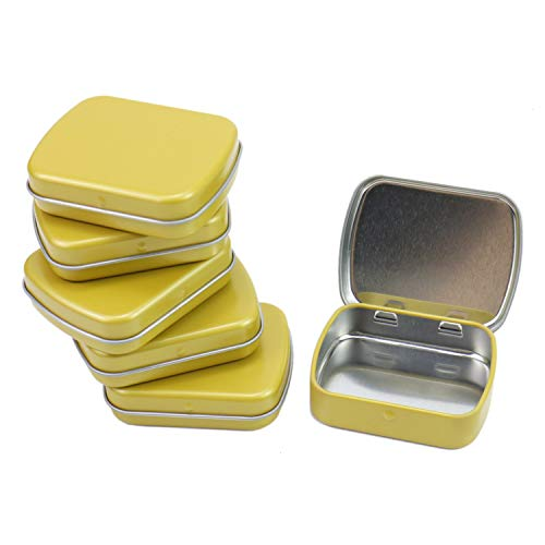 (Monrocco 6Pcs Mini Metal Hinged Lid Tin Containers Portable Small Storage Empty Box, Gold- Hinged Rectangular Storage Boxes for Crafts, Gifts, Candles, Soap, and Other Uses)